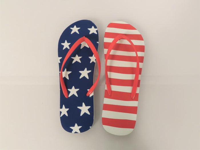 Red, White and Blue/Stars and Stripes Flip Flops Men's Size 9/10