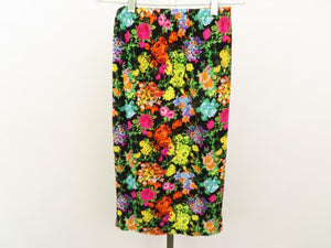 Black Knee Length Pull-On Skirt w/ Multi-Color Floral Design Women's Size S/M