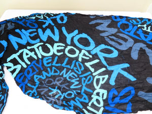 "Robin Ruth Black and Blues New York Scarf Women's Size 60""x24"""