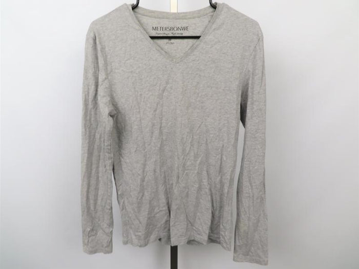 Metersbonwe Heathered Gray V-Neck Long Sleeve Women's Tee Size M