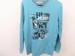 Jeanswest Teal and Blue Men's Long Sleeve Tee Size L