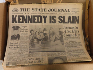 Box of Newspapers featuring JFK Assassination (1963-1964)