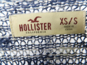 Hollister Heathered Ice Blue and White Knit Long Sleeve Sweater Women's Size XS