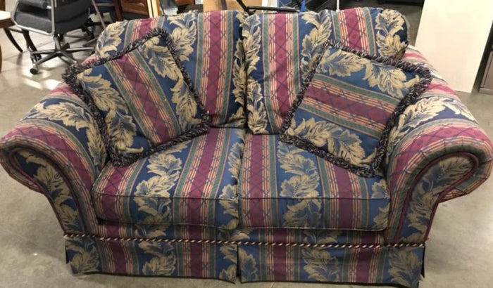 Navy and Burgandy Love Seat