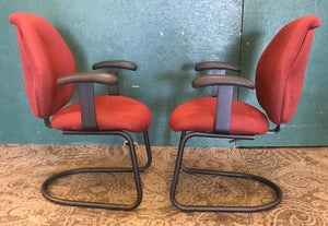 Pair of Burgandy Office Armchairs