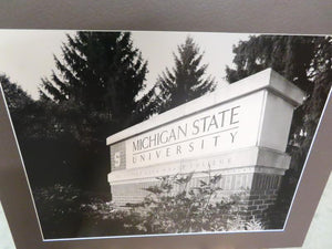"Black and White MSU Unframed Photo on Poster Board ""MSU Entrance Sign"""