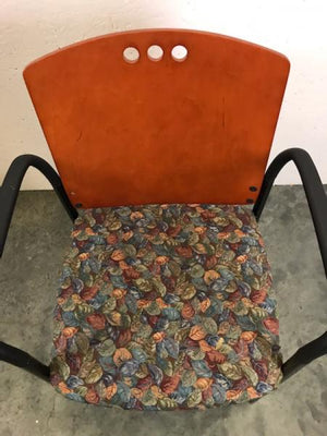 Wood Backed Floral Seat Chair