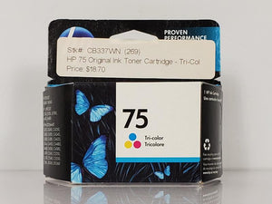 HP 75 CB337WN Tri-Color Inkjet Print Cartridge