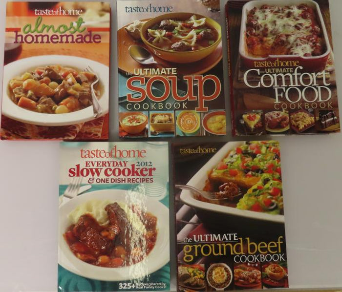 Taste of Home: Everyday Slowcooker  & One Dish Recipes, Ultimate Comfort Food Cookbook, Ultimate Soup Cookbook, Almost Homemade, Ultimate Ground Beef Cookbook [5 Books]