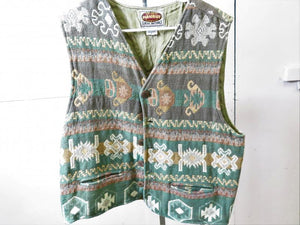 Paragraff Green Abstract Pattern Vest Women's Size L