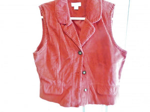 Christopher & Banks Cranberry Corduroy Vest Women's Size XL