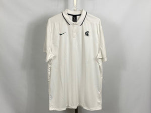 Nike ELITE MSU White Dri-Fit Short Sleeve Polo Men's Size XLT