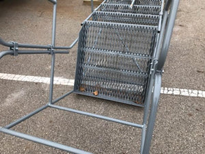 Large Industrial Ladder with Top Platform on Wheels