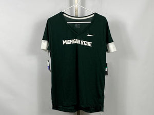 "Nike MSU Green ""Michigan State"" Dri-Fit Short Sleeve Shirt Women's Size L"