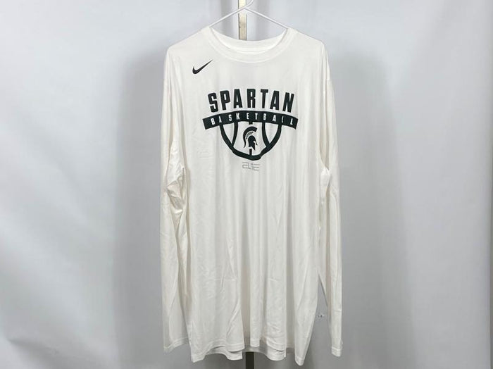 Nike ELITE MSU White Dri-Fit Long Sleeve Warm-Up Shirt Men's Size 3XLT