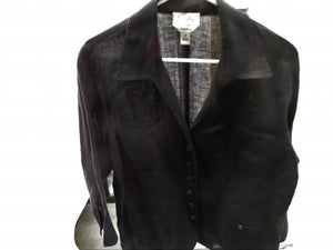 Talbots Black Linen Jacket Women's Size 16