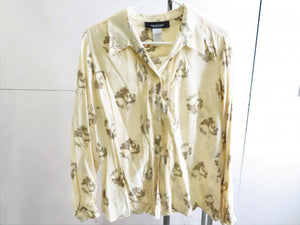Jones New York Petite Shop Beige Silk Blouse Women's Size 14P