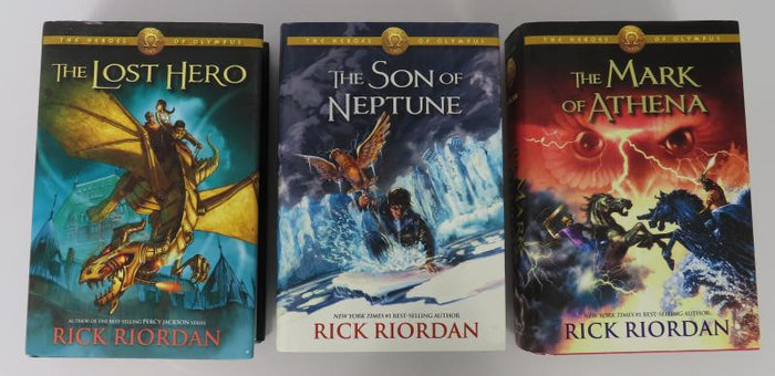 Books 1-3 of The Heroes of Olympus Series by Rick Riordan [First Editions/First Printings]