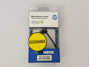 OnHand 3,000 mAh Slim Battery Pack Silver NEW