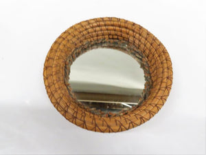 Small Round Mirrored Bottom Reed Bowl