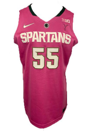 2014-2015 Nike Authentic MSU Women's Basketball Jersey Pink #55 Size 48