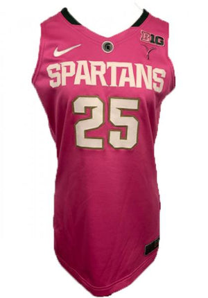 2012-2013 Authentic MSU Women's Basketball Jersey Pink #25 Size 44
