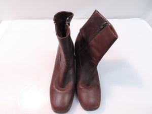 Side-Zip Brown Leather Chunk Heel Winter Boots Woman's Size 8.5M