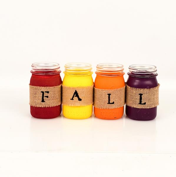 "Upcycled Painted ""FALL"" Mason Jar Set"