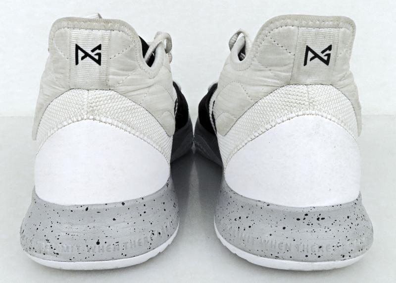 gray and white basketball shoes