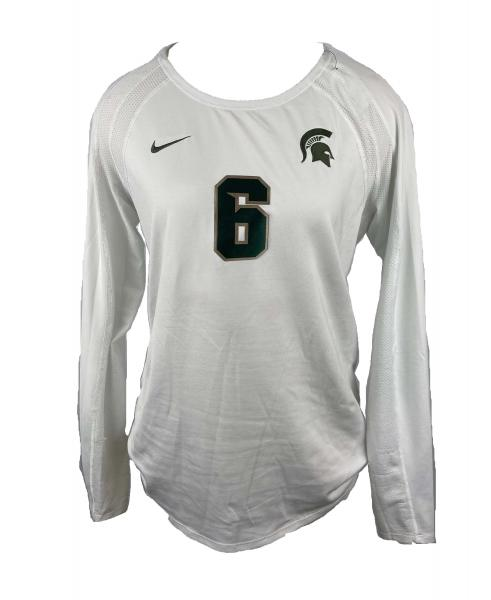 Russell Spartans Soccer Jersey Women/'s Large White Long Sleeve Volleyball VF7S02