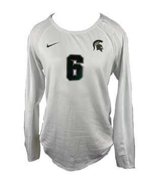 MSU Nike Women's Volleyball Long-Sleeve White Jersey