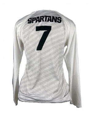 MSU Nike White Volleyball Long-Sleeve Jersey w/ Design Back Women's