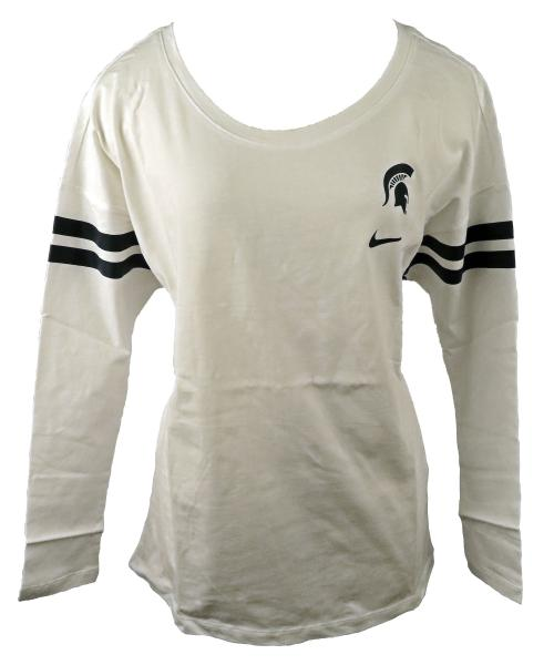 Nike White & Green Striped Long Sleeve T-Shirt Women's