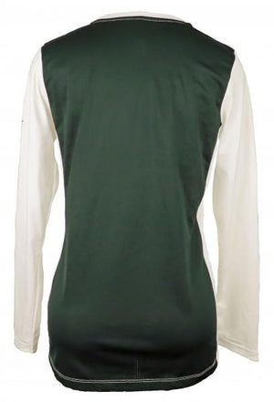 Nike White & Green Dri-Fit Mesh Long Sleeve T-Shirt Women's