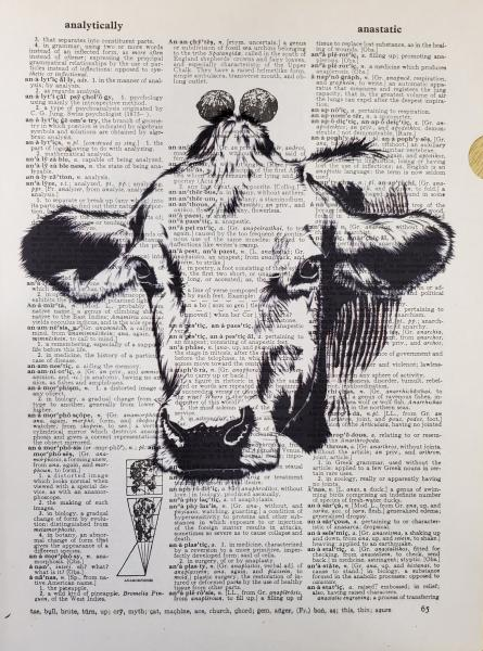 Vintage Cow Dictionary Art Print