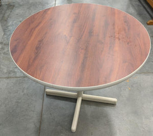 3 ft. Round Table Metal Base - Cherry/Cream Color