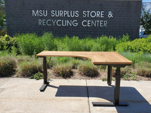 MSU Shadows Adjustable Height Corner Desk - Ash
