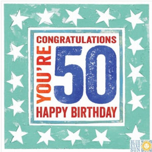 Single 50th Birthday Card (Including UK P&P)