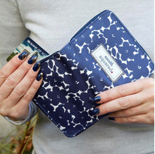 Load image into Gallery viewer, Navy Flower Oil Cloth Wallet