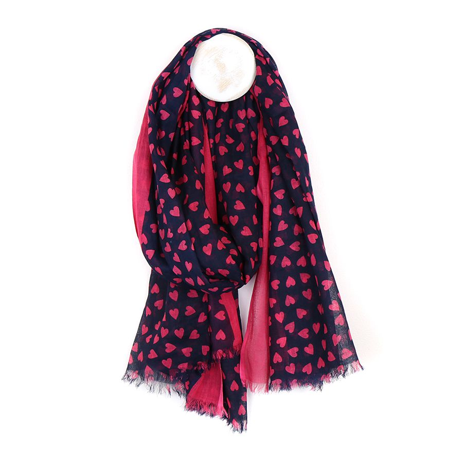 Raspberry Heart and Navy Scarf