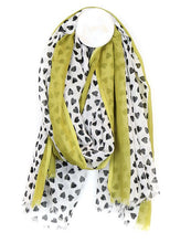 Load image into Gallery viewer, White Cotton & Black Heart Scarf
