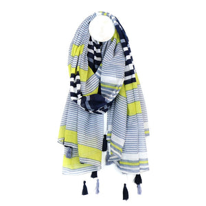 Cotton Striped Scarf in Navy and Lime