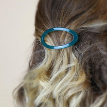 Load image into Gallery viewer, Teal & Grey Oval Hair Clips
