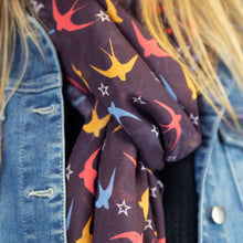 Load image into Gallery viewer, Recycled Mulberry Swallows & Stars Scarf