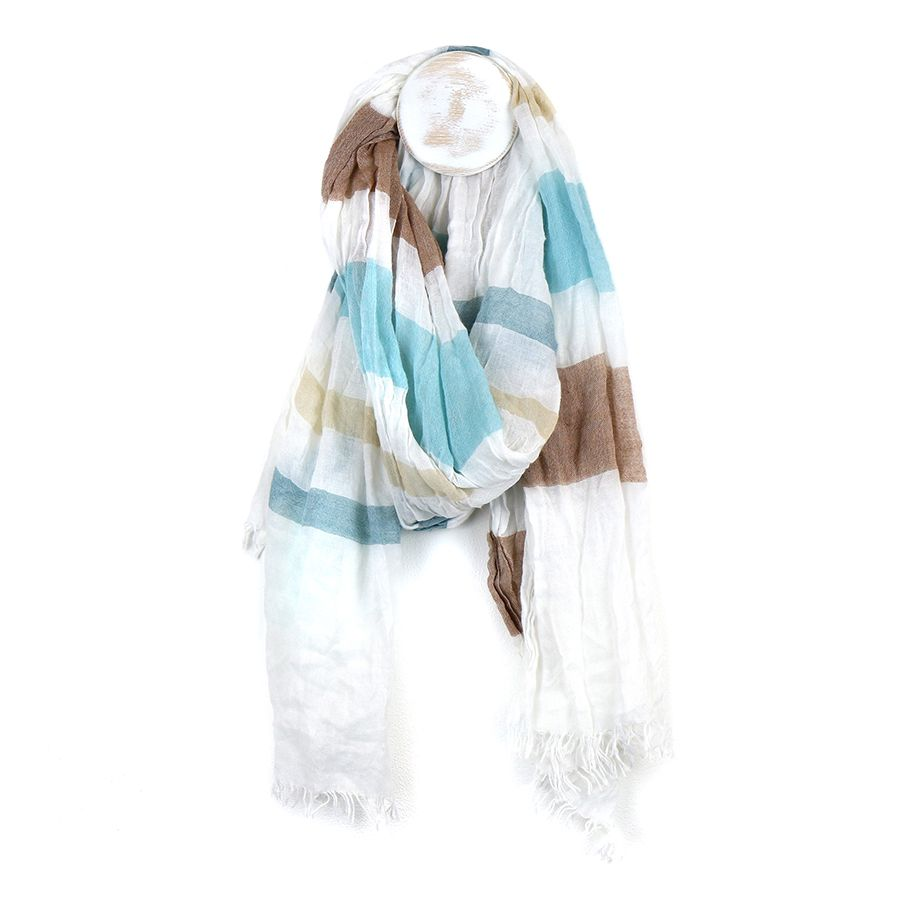 Blue And Taupe Striped Scarf