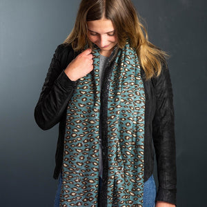 Teal & Silver Animal Print Scarf