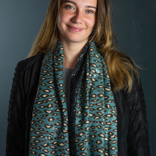 Load image into Gallery viewer, Teal & Silver Animal Print Scarf