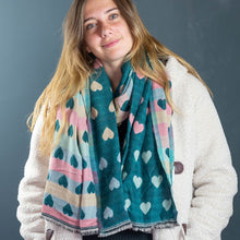 Load image into Gallery viewer, Teal Heart Scarf