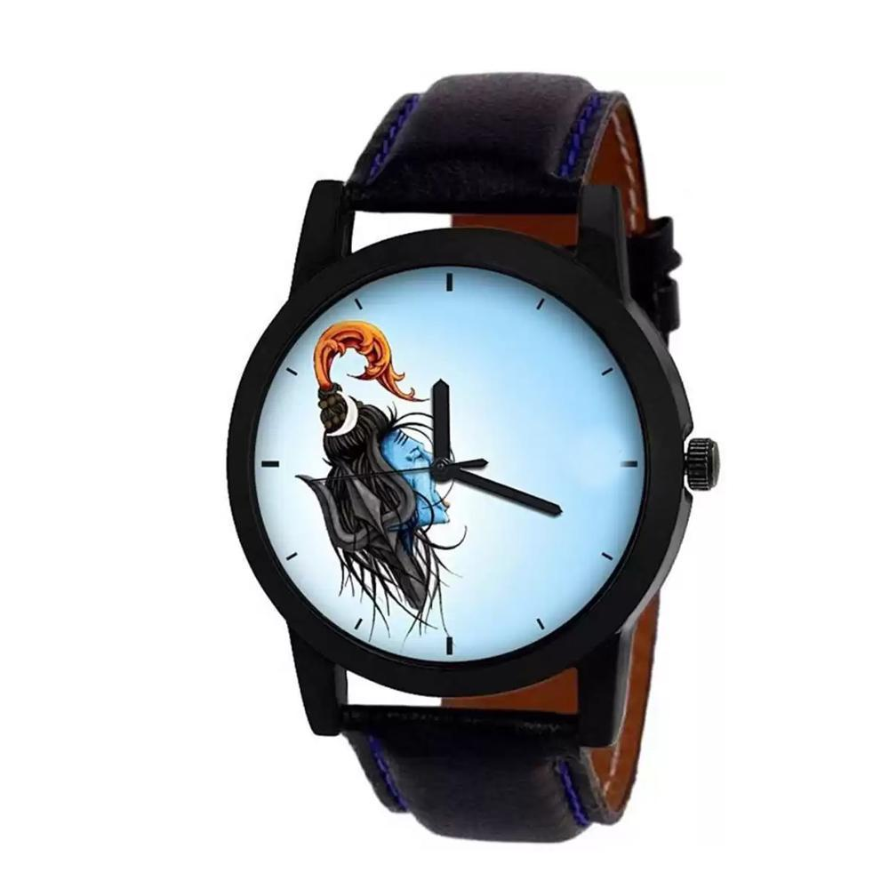wt1003- Unique & Premium Analogue Watch Lord Shiva Print Multicolour Dial Leather Strap (Shiv 3)