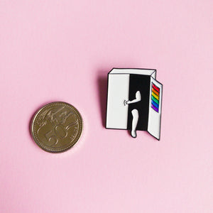 Hang on, I'm coming out — enamel pin